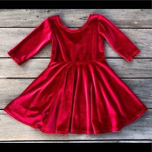 Red Velvet Twirly Dresses, handmade by Fi and Me